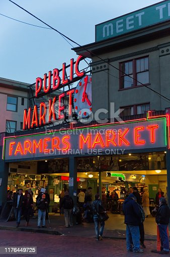 Seattle, United States - January 25th, 2014: Its the old Public Market Signs at the Pike Place Market in Downtown Seattle Washington.