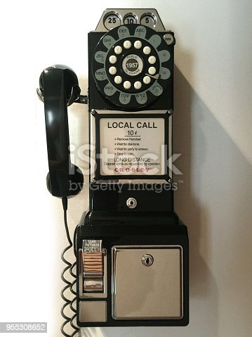 Retro style public phone from 80's American Culture.