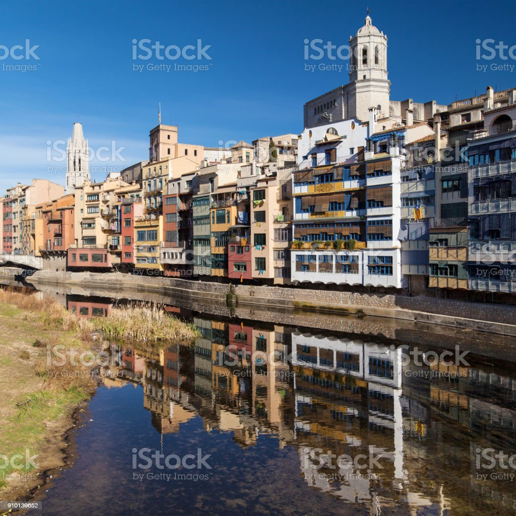 Old Quarter of Girona from the Onyar River stock photo