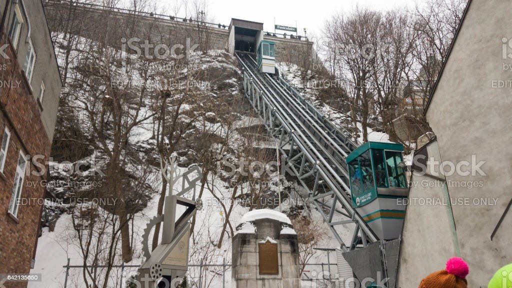 Old Quebec, Canada Funicular railway links Upper and Lower Town. stock photo