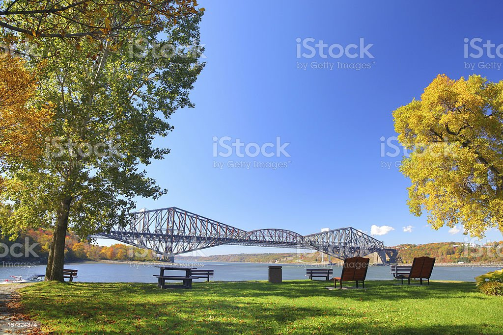 Old Quebec City Bridge and Park royalty-free stock photo