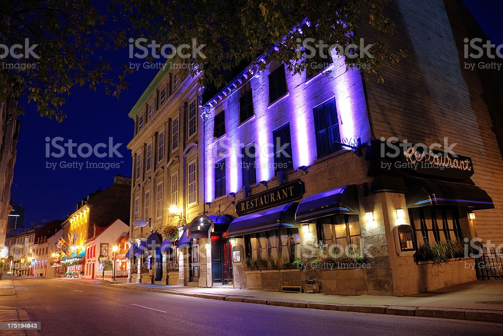Old Quebec City Street at Night royalty-free stock photo
