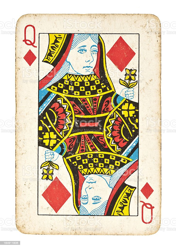 Old Queen of Diamonds Isolated on White stock photo