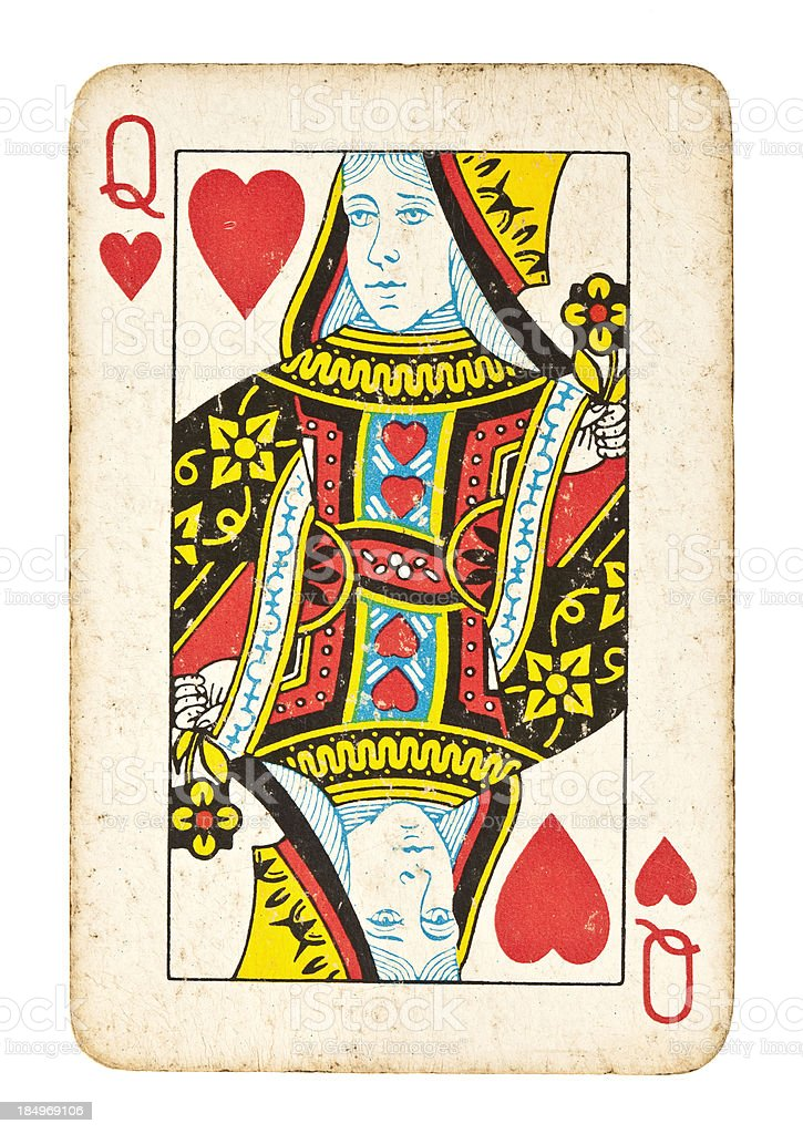 Old Queen of Hearts Isolated on White stock photo