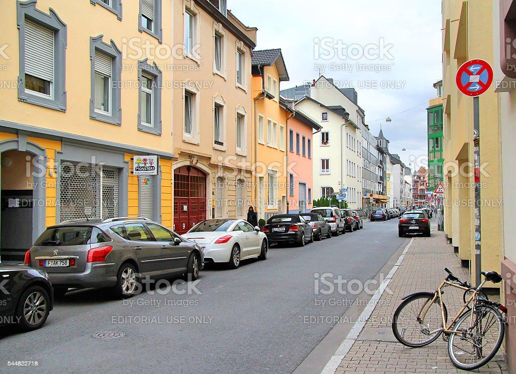 Old quiet city street stock photo