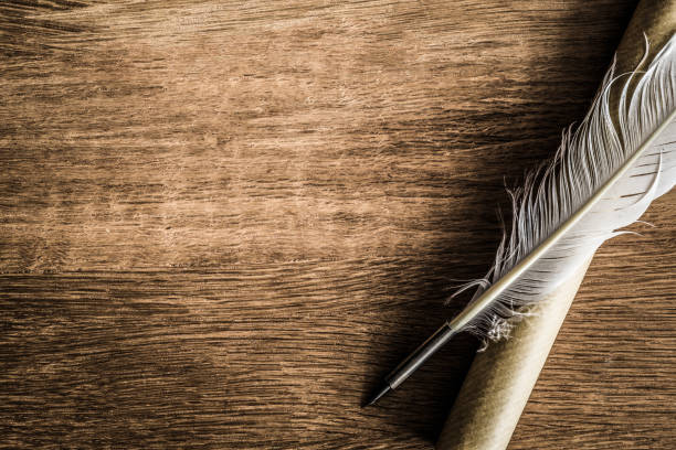 old quill pen with old paper scroll on the dark wooden table. letter writing. historical atmosphere. - quill stock photos and pictures