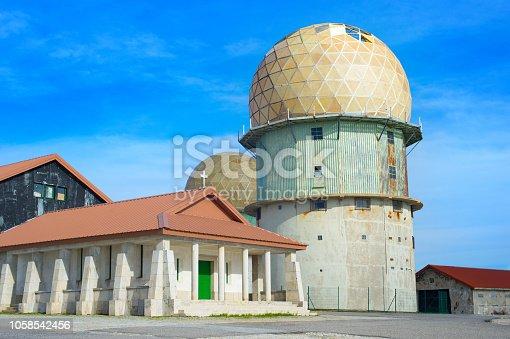 Old radar station near the highest point of Serra da Estrela mountains. Famous tourists destination. Portugal