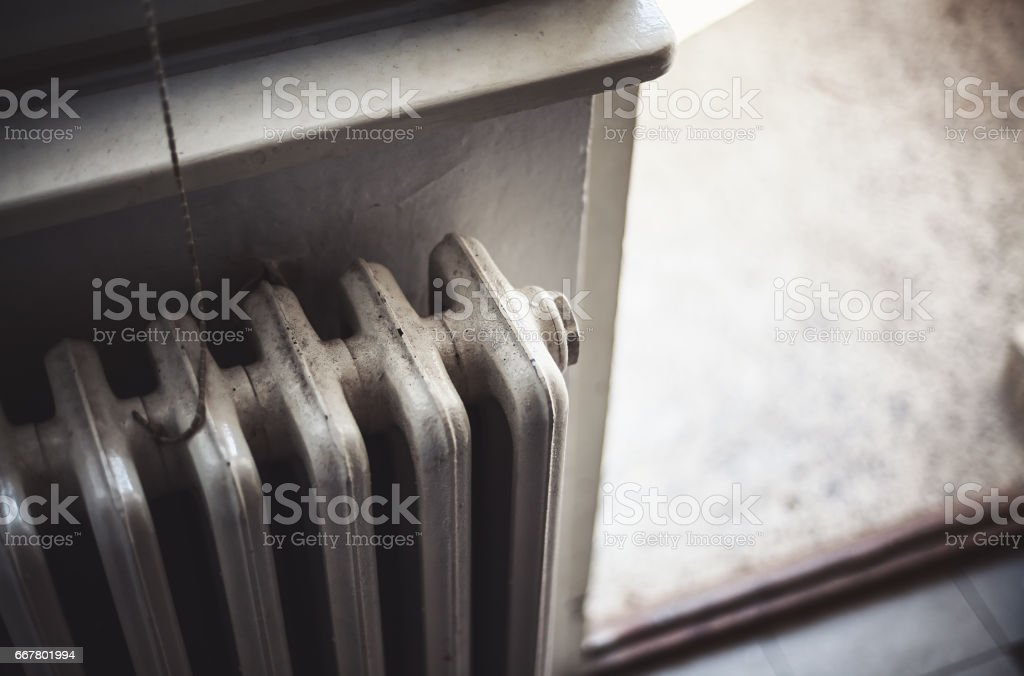 Old Radiator and Open Terrace stock photo