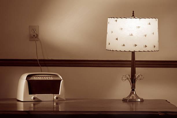 Old Radio & Lamp stock photo