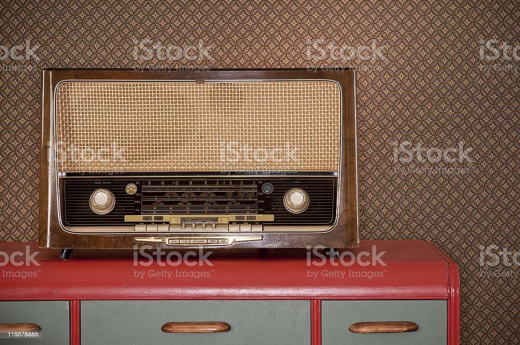 Old Radio On Retro Desk royalty-free stock photo