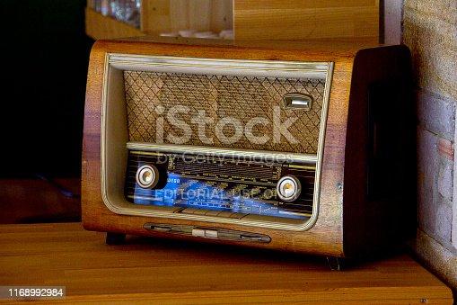 Canakkale, Turkey - July 2, 2019: An old radio in Turkish island on Aegean sea called gökçeada (imroz).
