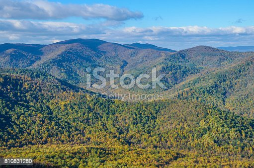 istock Old Rag Mountain view in Shenandoah, Virginia with yellow and golden orange foliage on forests 810831280