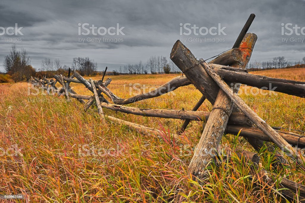 Old rail fence in autumn stock photo