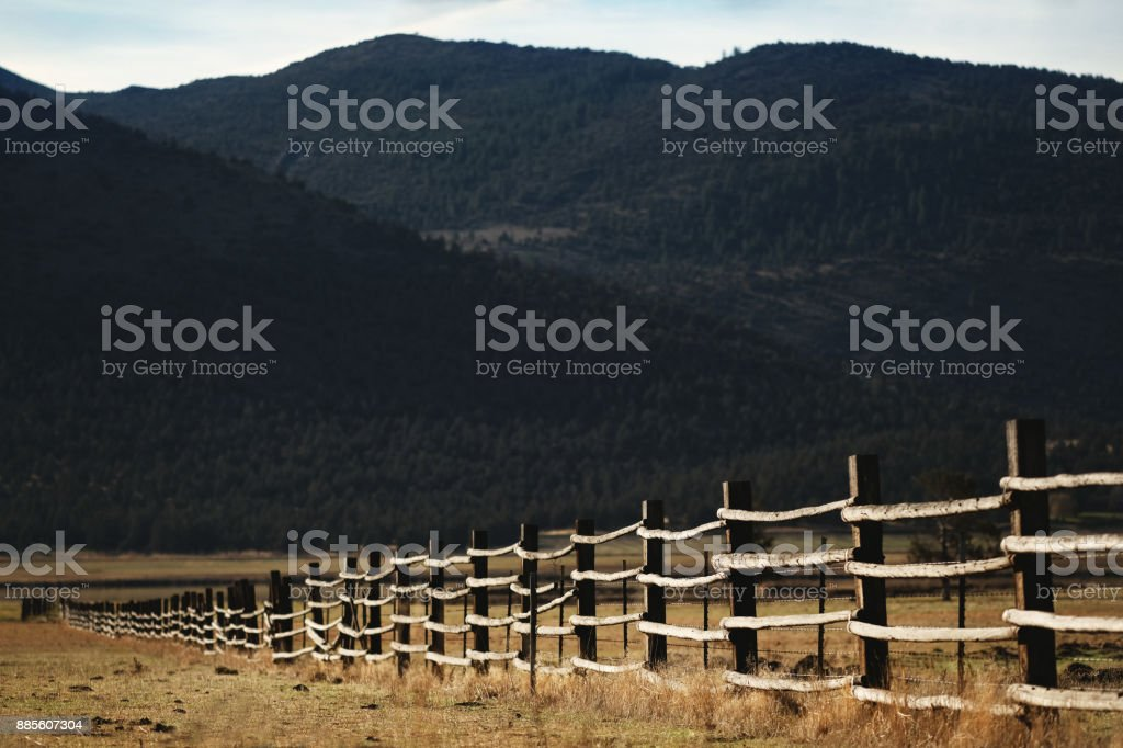 Old rail fence in western USA stock photo