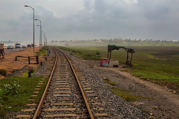 Old rail line in Ghana, West Africa stock photo