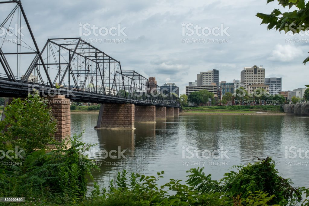 Old Railroad Bridge over Susuquehanna River stock photo