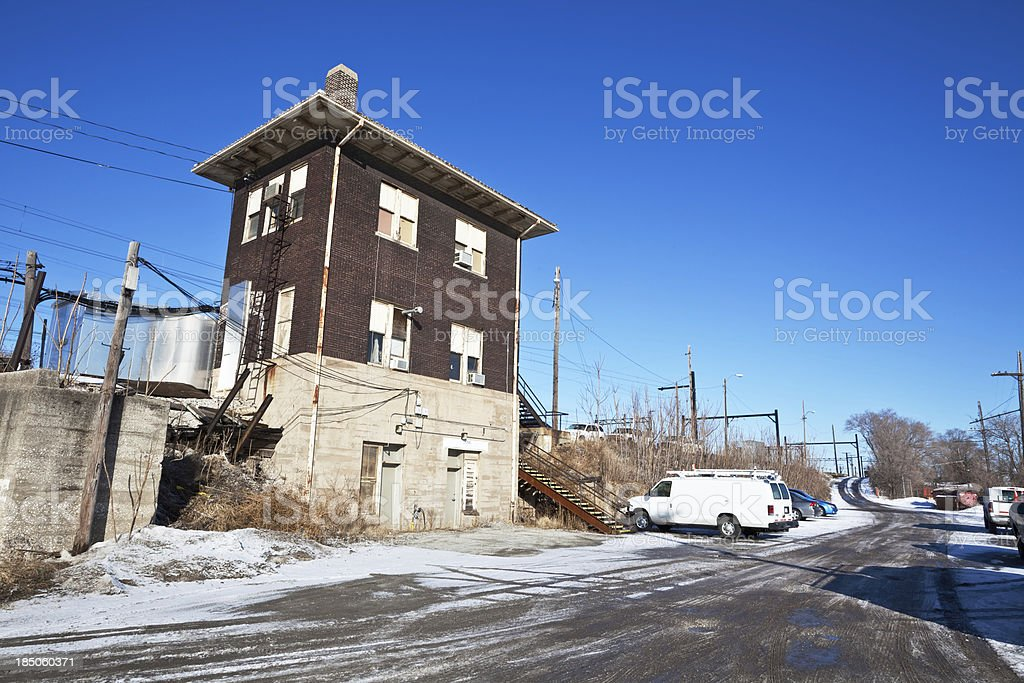 Old Railroad Signal Box in Riverdale, Chicago royalty-free stock photo