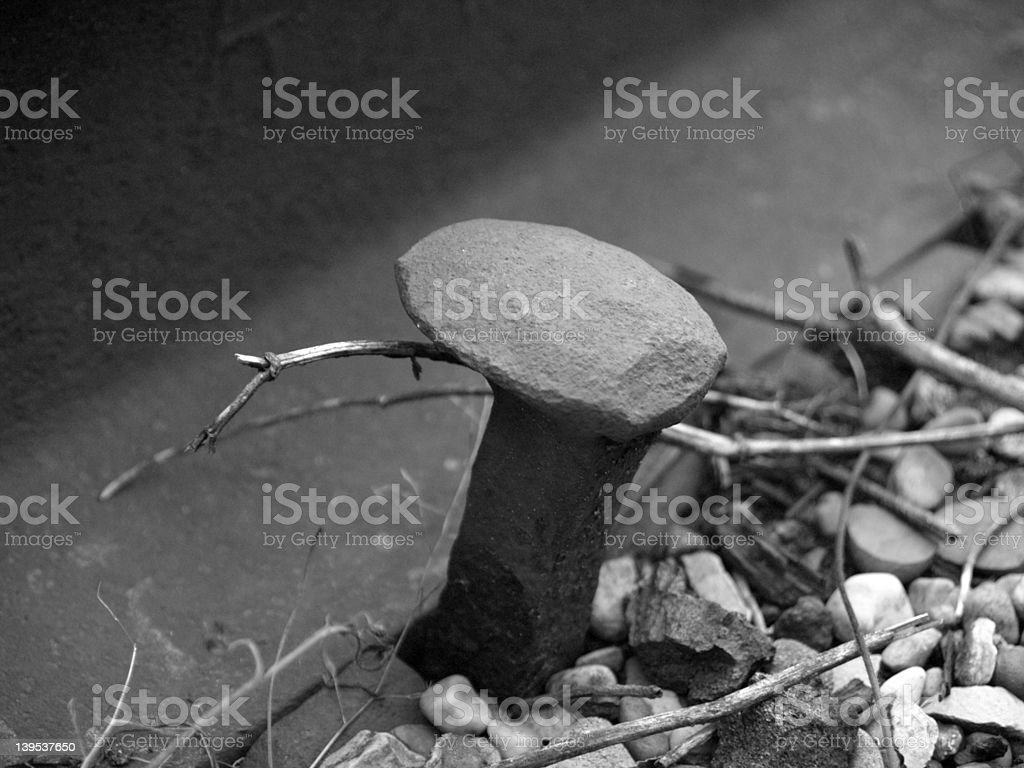 Old Railroad Spike (B&W) royalty-free stock photo