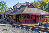 An old railroad station in Frostburg Maryland.  No people around.