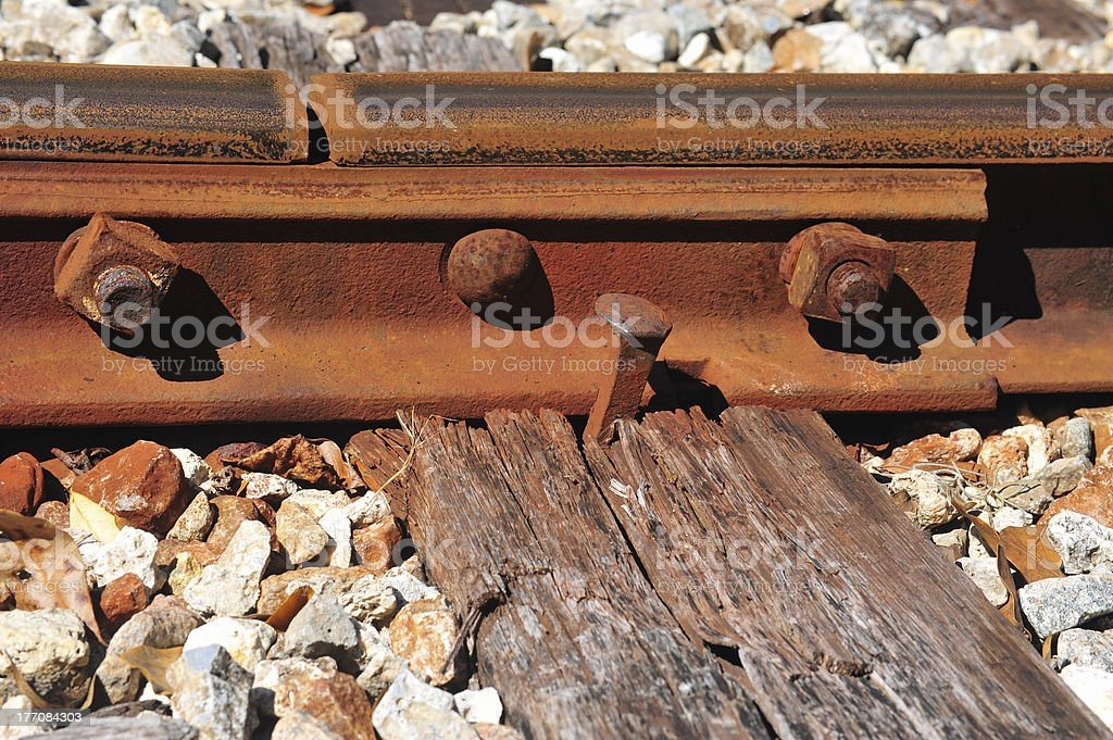Old railroad tie and spike stock photo