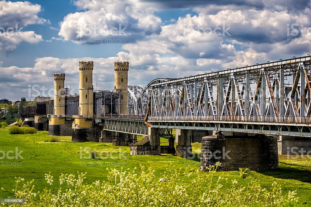 Old Railway Bridge in Tczew, Poland stock photo
