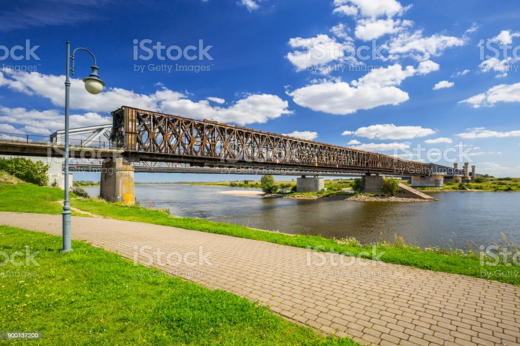 Old railway bridge over Vistula river in Tczew stock photo