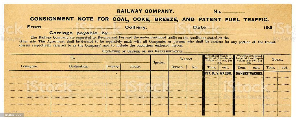 Old Railway Consignment Form For Coal And Fuel Stock Photo  More