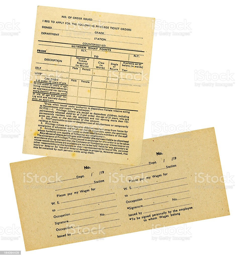 Old railway employees' forms stock photo
