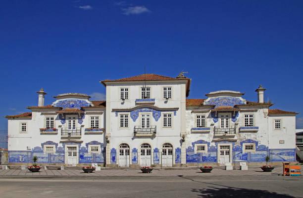 old railway station decorated with azulejo in aveiro - aveiro imagens e fotografias de stock