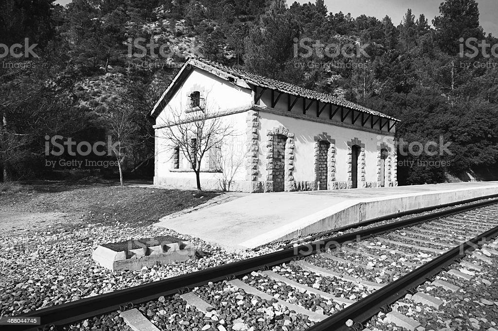 Old railway station stock photo