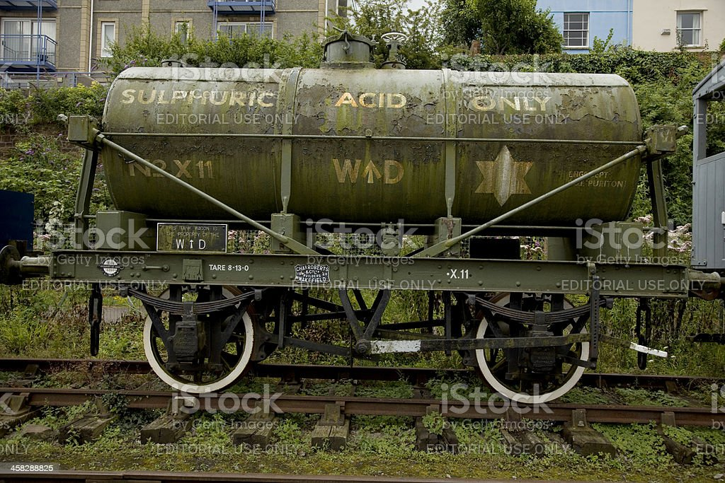 Old ferrocarril de ácido sulfúrico al recipiente - foto de stock