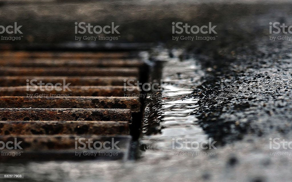 old rain runoff stock photo