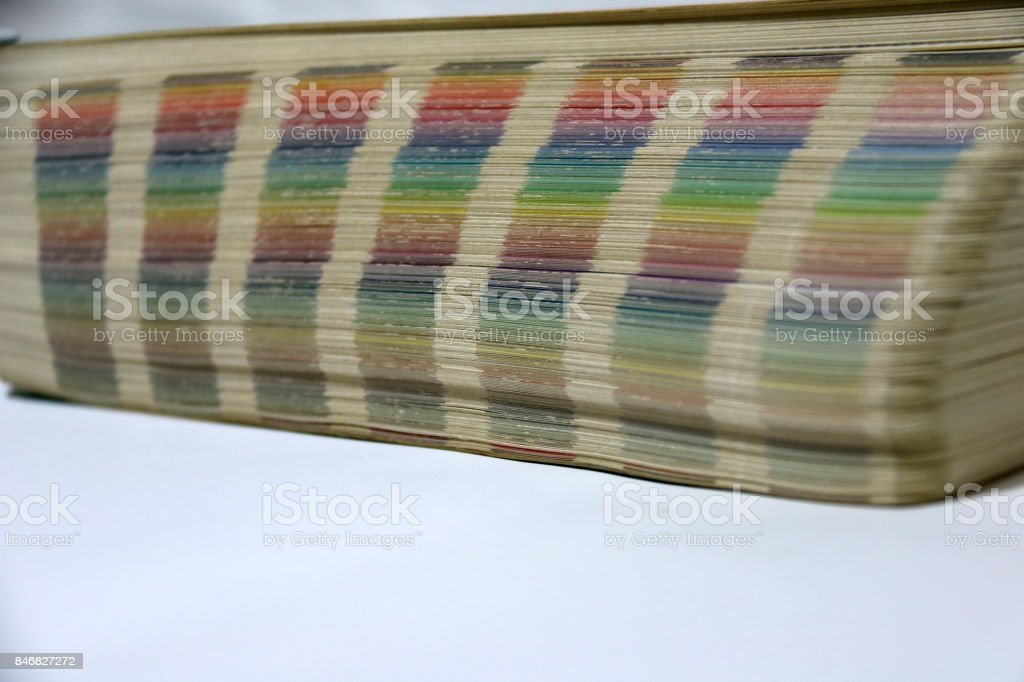 Old Rainbow Sample Colors Palette Catalog. stock photo