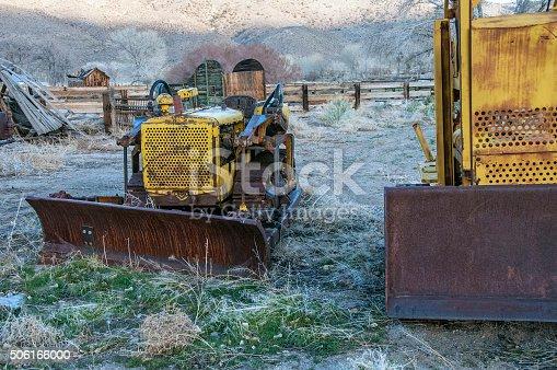 Rusting machinery at an old ranch near Benton, California.