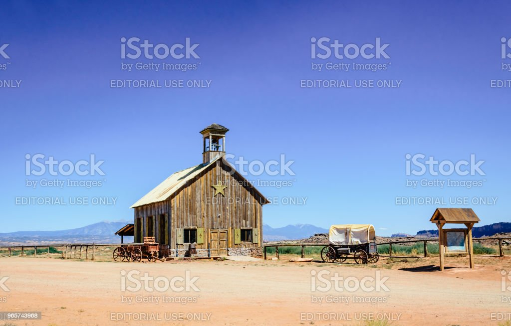 Old ranch in the Wild West. The desert landscape of Utah and the old wooden barn - Royalty-free Abandoned Stock Photo