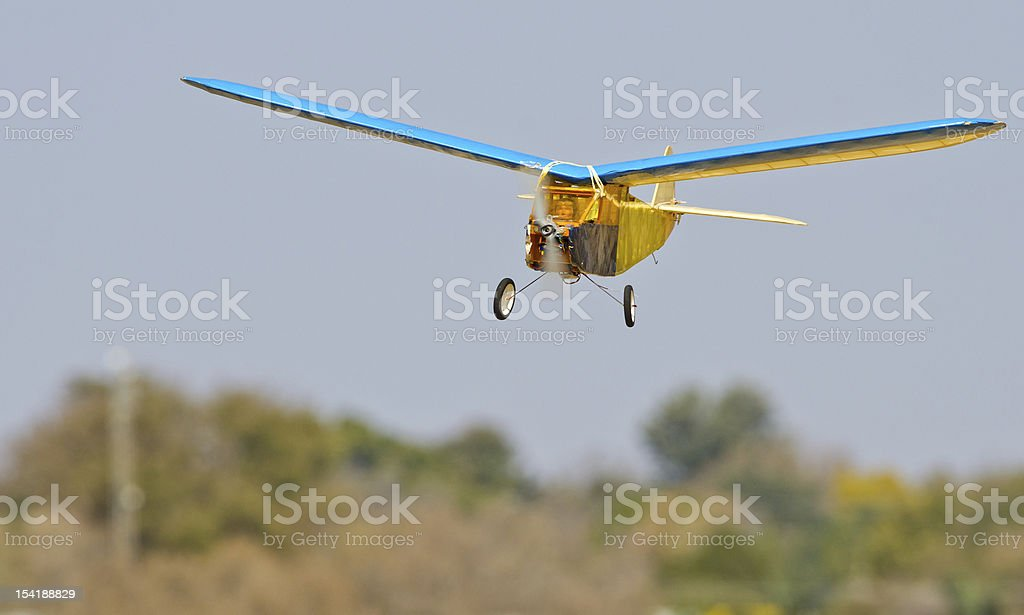 Old RC model landing stock photo