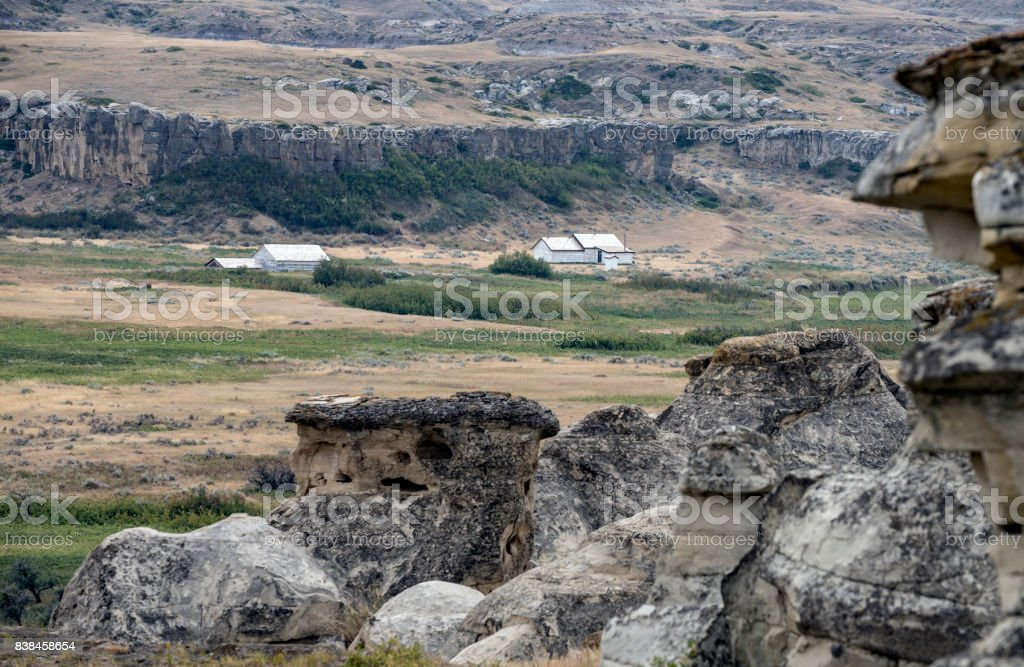 Old RCMP Barracks on Milk River in Writing on Stone Provincial Park stock photo