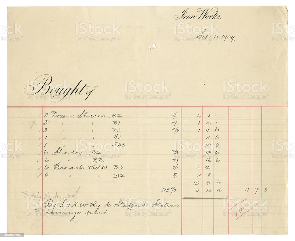 Old receipt from a British iron works, 1909 royalty-free stock photo