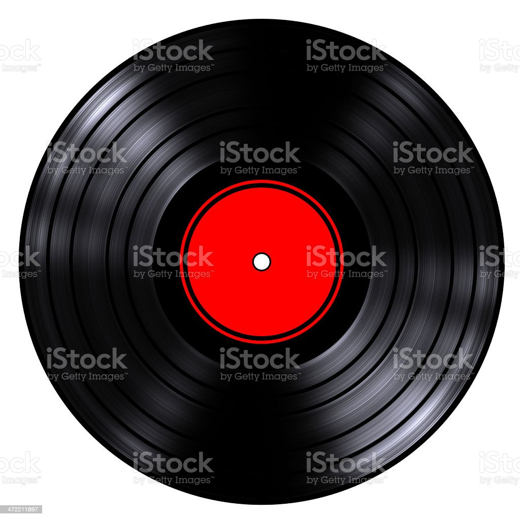 Old record in black and red label royalty-free stock photo