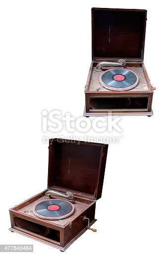 the old record player closeup isolated on white background