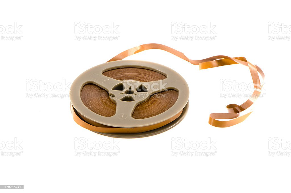 old recorder audio tape isolated on white royalty-free stock photo