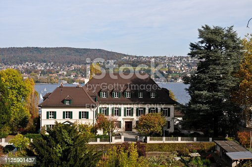 Old rectory building Wollishofen (Zurich). The Building was planned by the Zurich based Architect Paul Fierz. The Image was captured in Autum season.