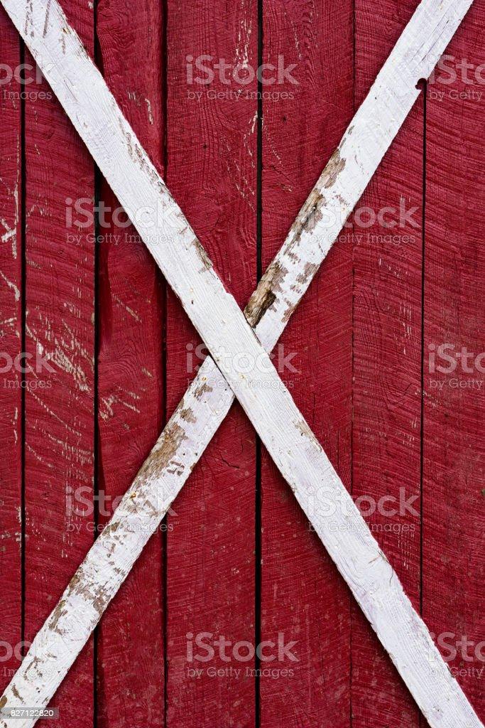Old red barn door stock photo