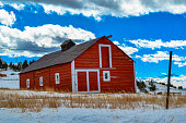 Classic old red barn in western USA