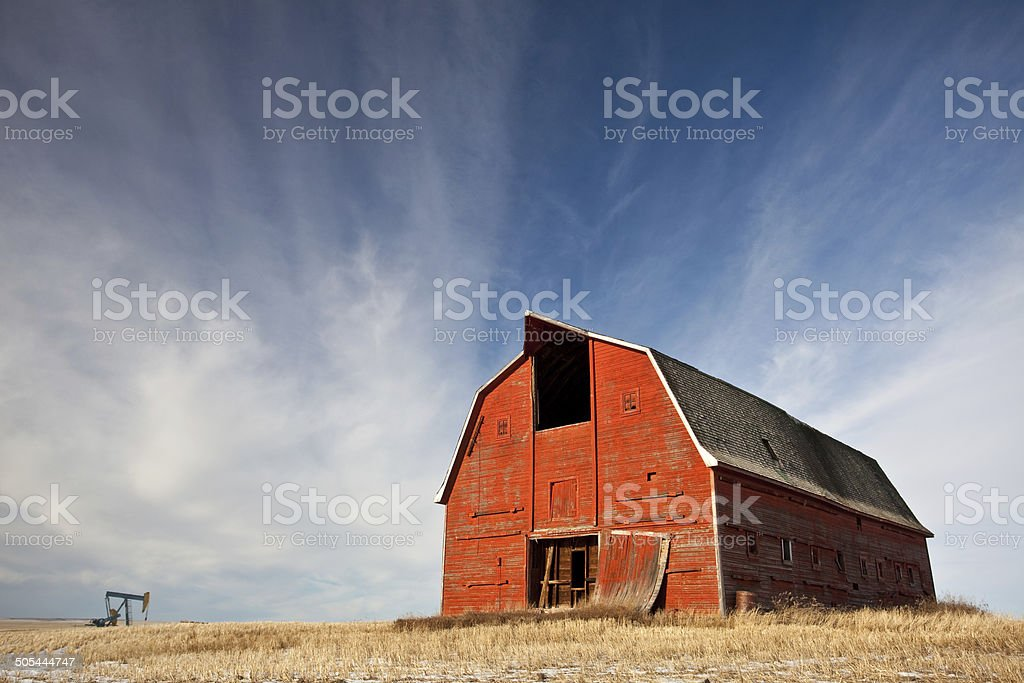 Old Red Barn on the Prairie stock photo