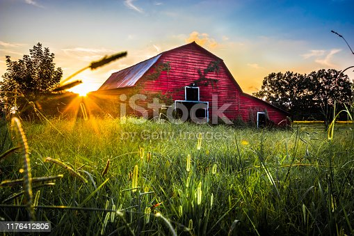 Sunset At The Old Red Barn In Belden Mississippi