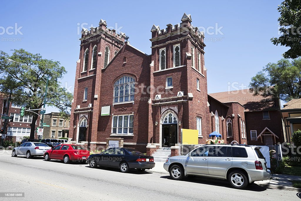 Old Red Brick Church in Portage Park, Chicago royalty-free stock photo