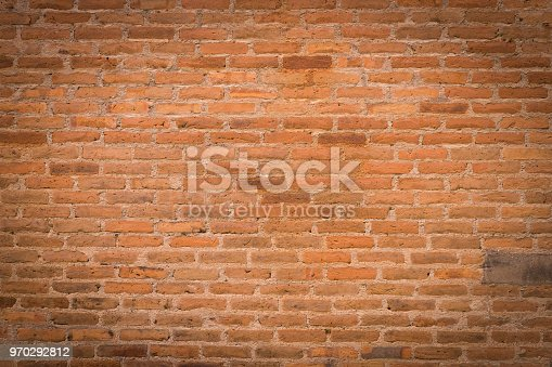 Old red brick wall background and texture with space.