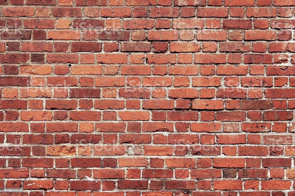Old red brick wall background texture stock photo