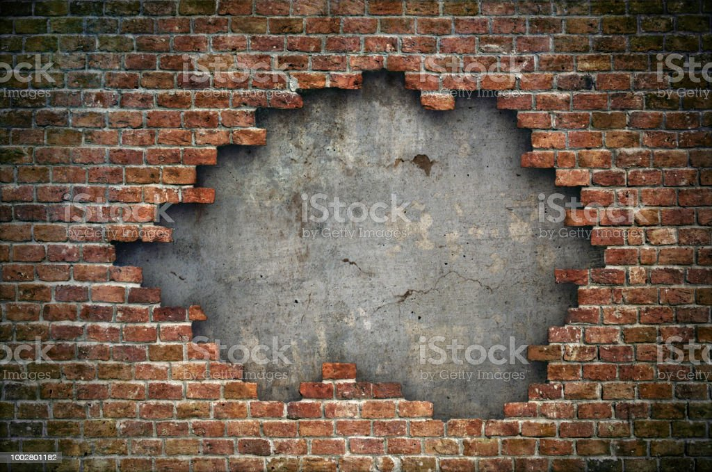 Old red brick wall damaged background stock photo